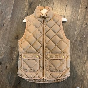 Tan J. Crew puffy quilted vest